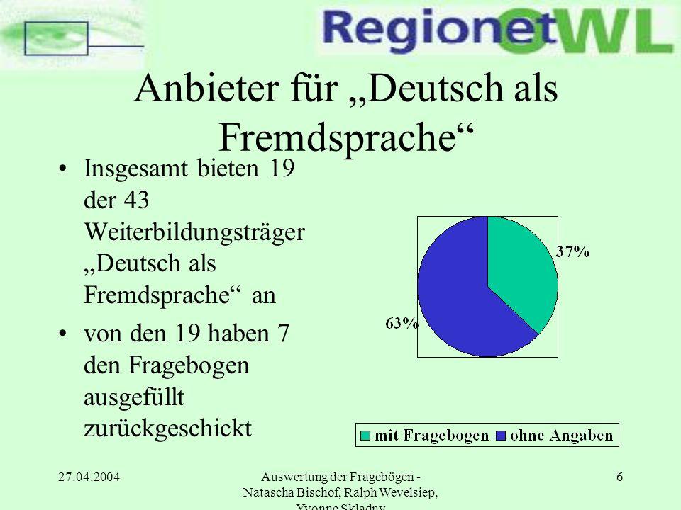 """Anbieter für """"Deutsch als Fremdsprache"""