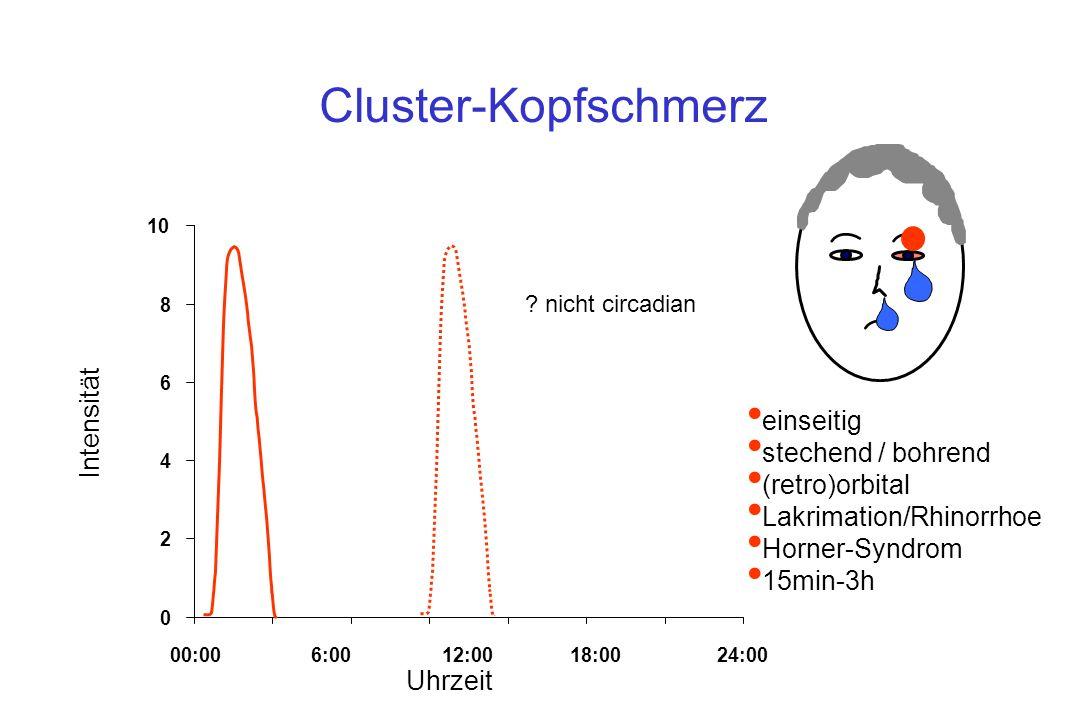 Cluster-Kopfschmerz Intensität einseitig stechend / bohrend