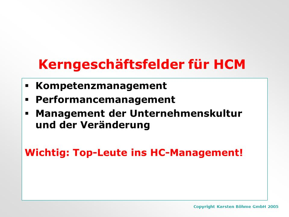 Kerngeschäftsfelder für HCM