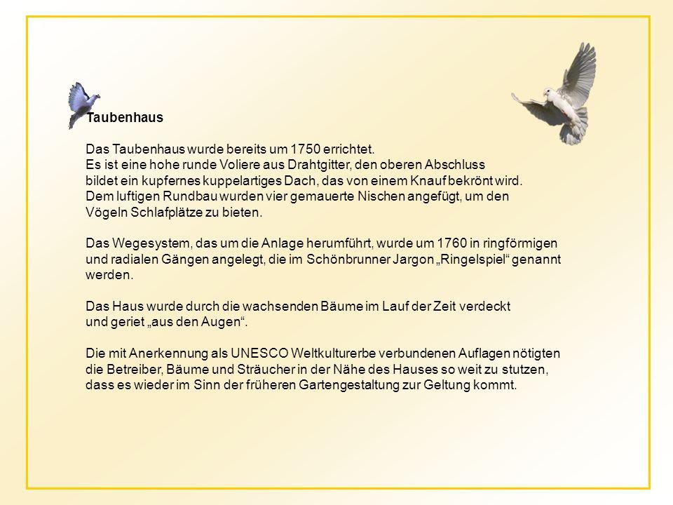 Taubenhaus Das Taubenhaus wurde bereits um 1750 errichtet. Es ist eine hohe runde Voliere aus Drahtgitter, den oberen Abschluss.