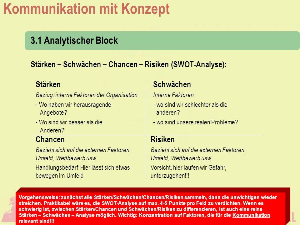 3.1 Analytischer Block Stärken – Schwächen – Chancen – Risiken (SWOT-Analyse): Stärken. Beziug: interne Faktoren der Organisation.