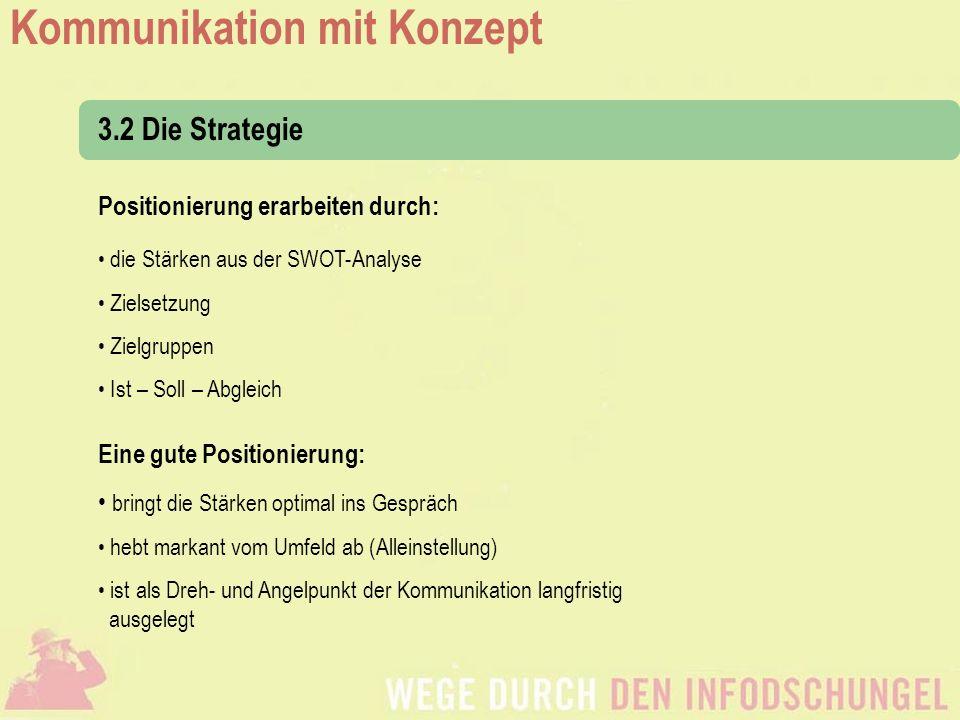3.2 Die Strategie Positionierung erarbeiten durch: