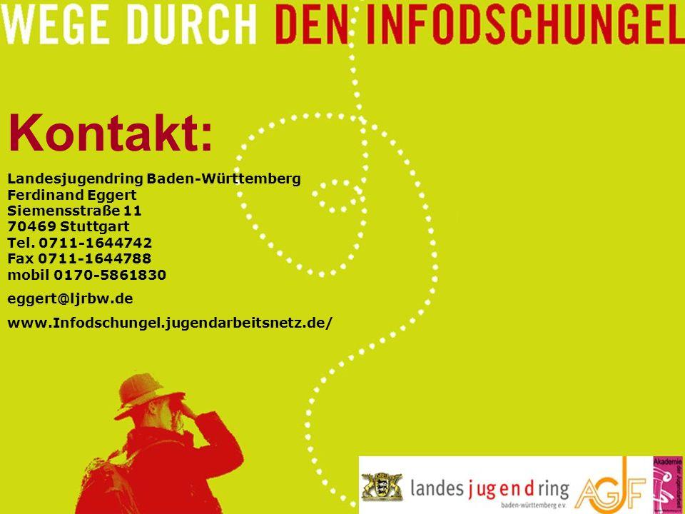 Kontakt: Landesjugendring Baden-Württemberg Ferdinand Eggert Siemensstraße 11 70469 Stuttgart Tel. 0711-1644742 Fax 0711-1644788 mobil 0170-5861830.