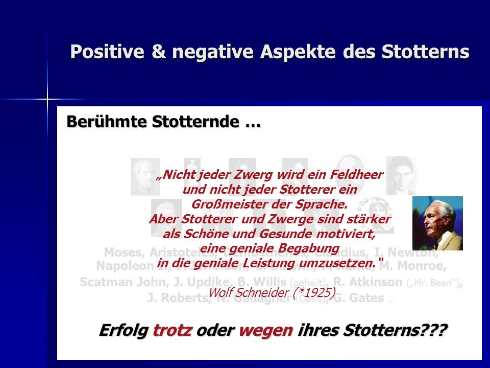 Positive & negative Aspekte des Stotterns