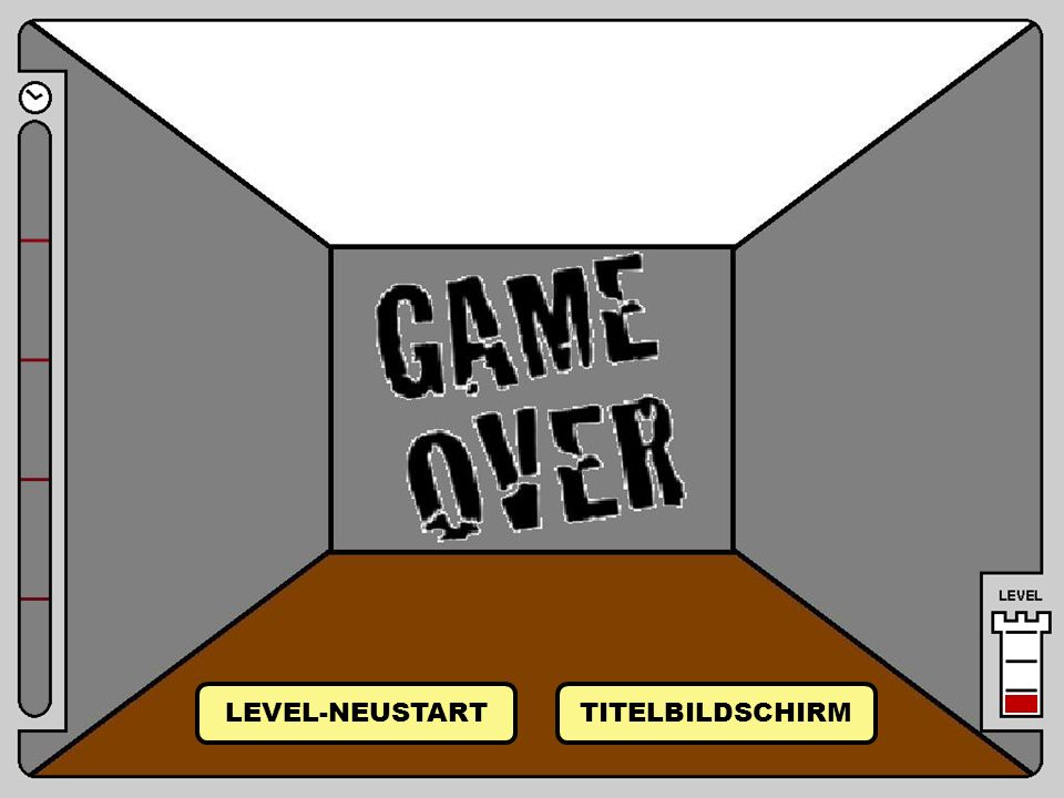 Game Over LEVEL-NEUSTART TITELBILDSCHIRM