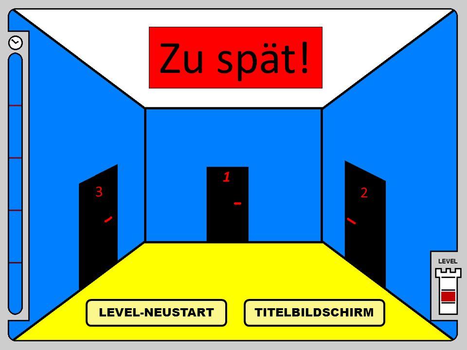 Zu spät! 1 3 2 LEVEL-NEUSTART TITELBILDSCHIRM