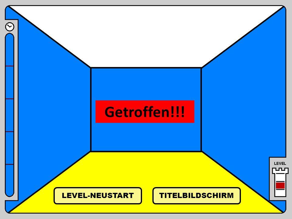 Getroffen!!! LEVEL-NEUSTART TITELBILDSCHIRM