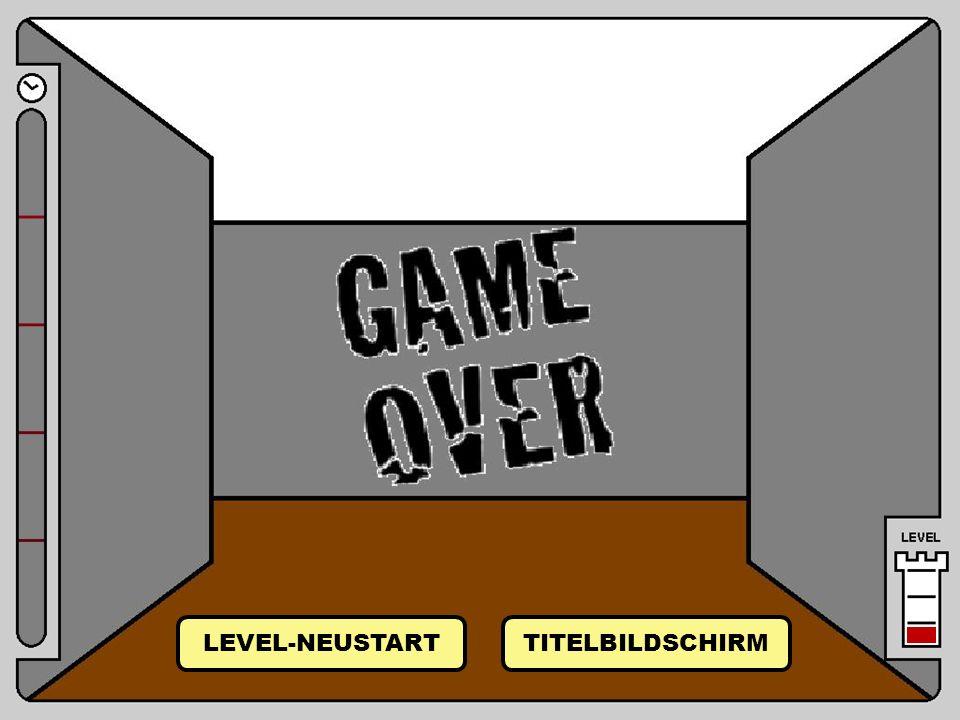 Game Over Raum 5 von Raum 4 (Tür) LEVEL-NEUSTART TITELBILDSCHIRM