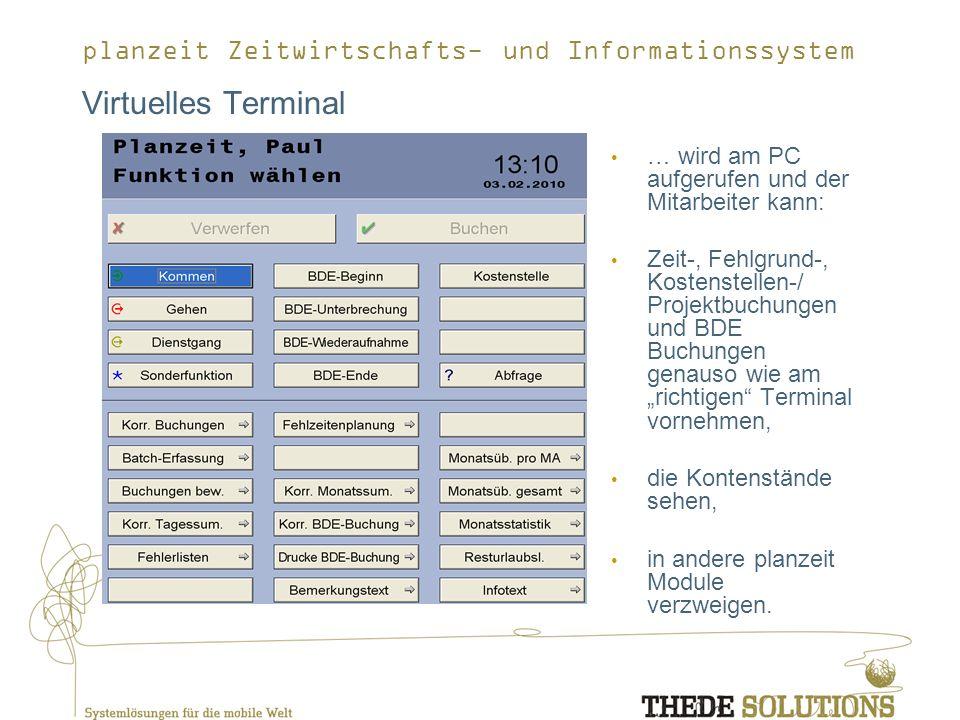 Virtuelles Terminal … wird am PC aufgerufen und der Mitarbeiter kann: