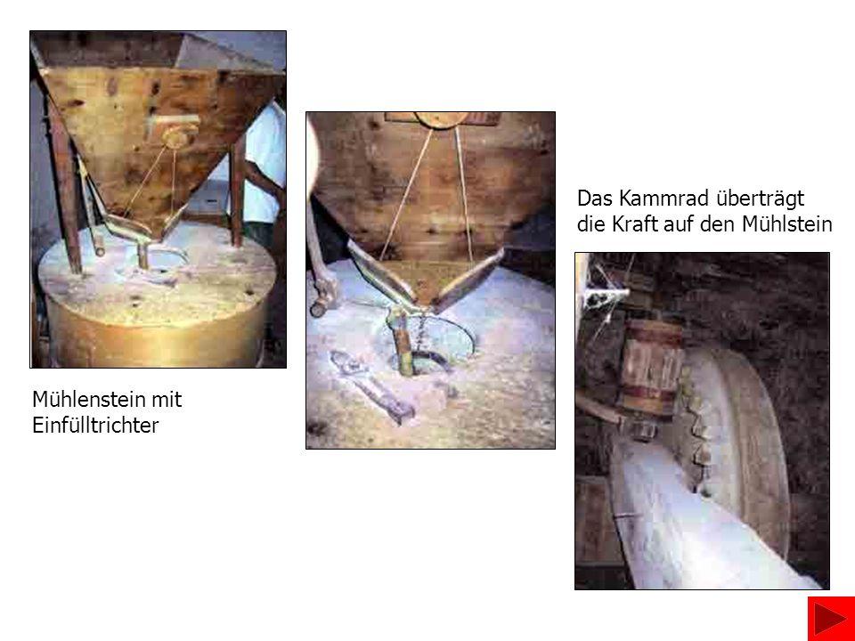Das Kammrad überträgt die Kraft auf den Mühlstein Mühlenstein mit Einfülltrichter
