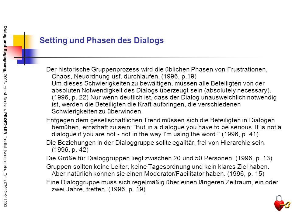 Setting und Phasen des Dialogs