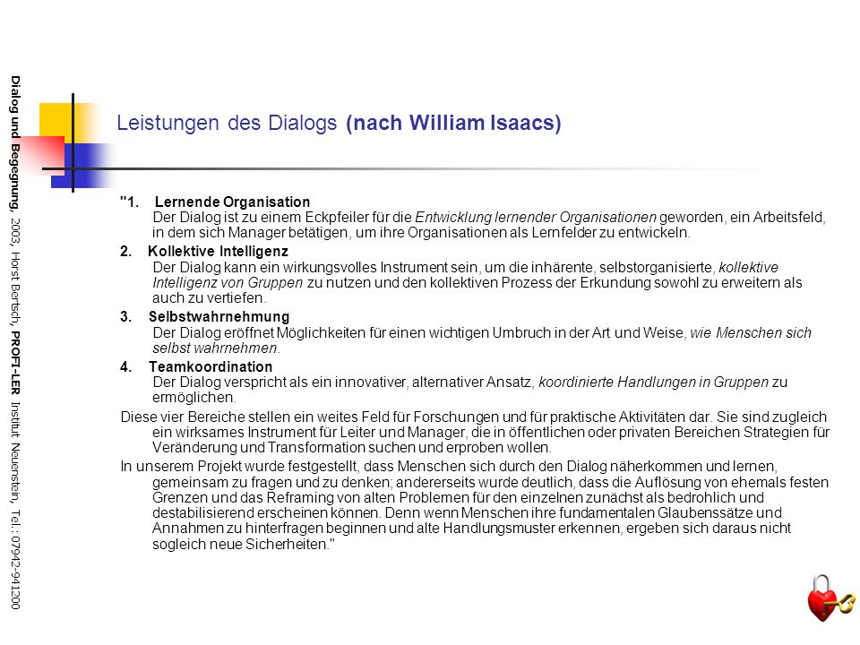 Leistungen des Dialogs (nach William Isaacs)