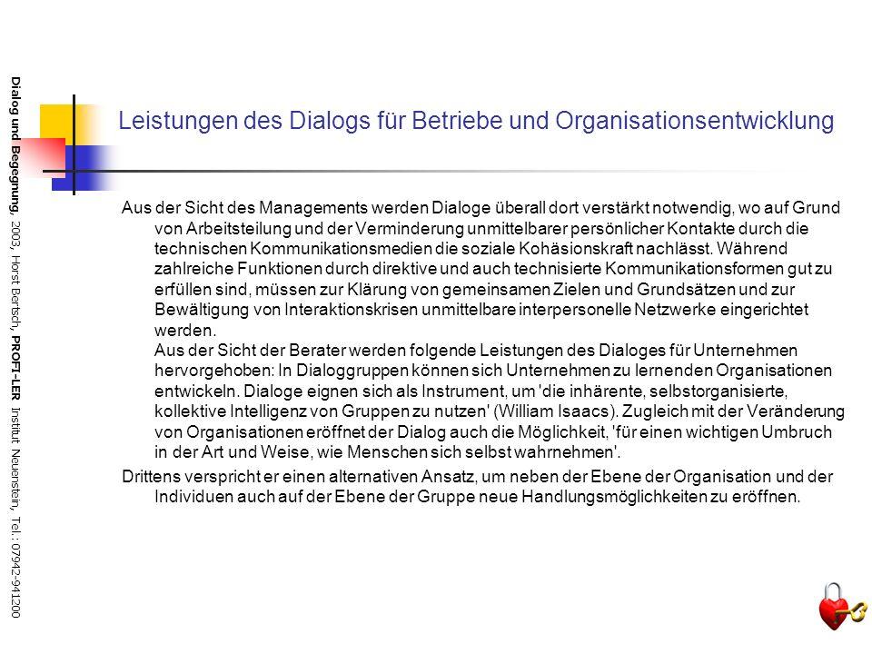 Leistungen des Dialogs für Betriebe und Organisationsentwicklung