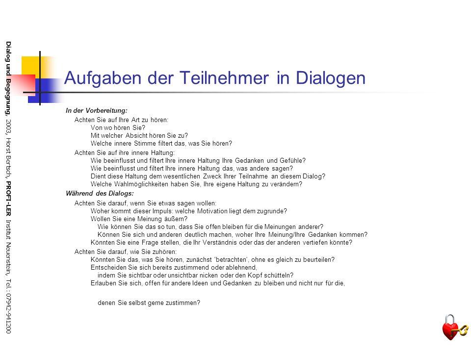 Aufgaben der Teilnehmer in Dialogen
