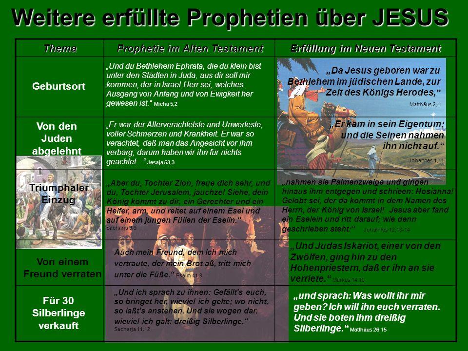 Weitere erfüllte Prophetien über JESUS