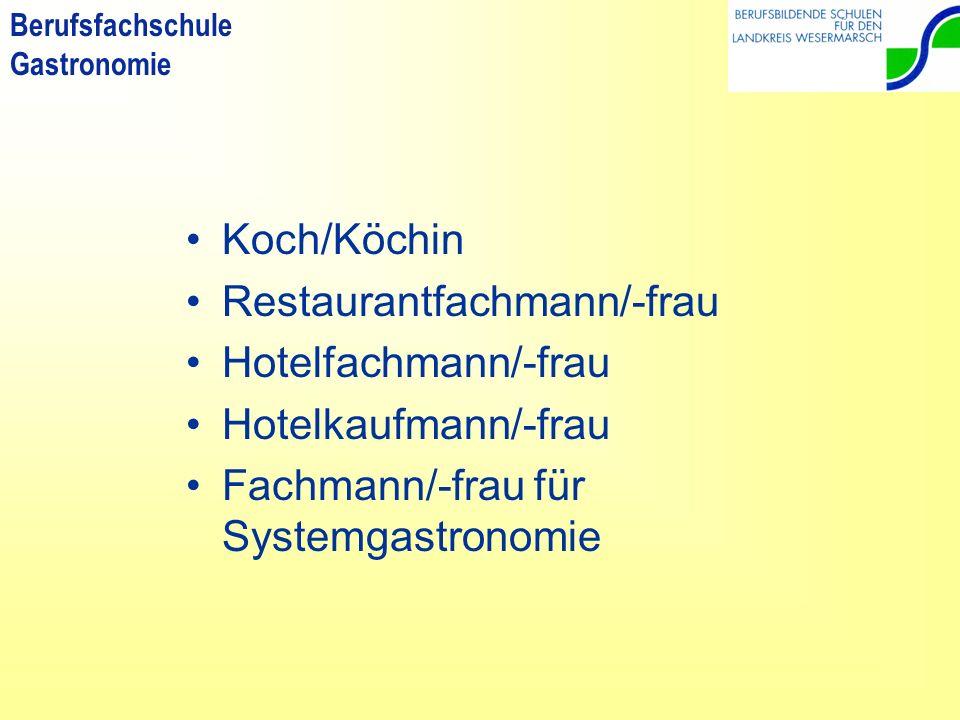Koch/Köchin Restaurantfachmann/-frau. Hotelfachmann/-frau.