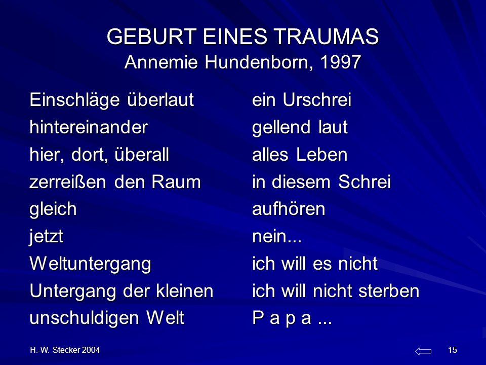 GEBURT EINES TRAUMAS Annemie Hundenborn, 1997