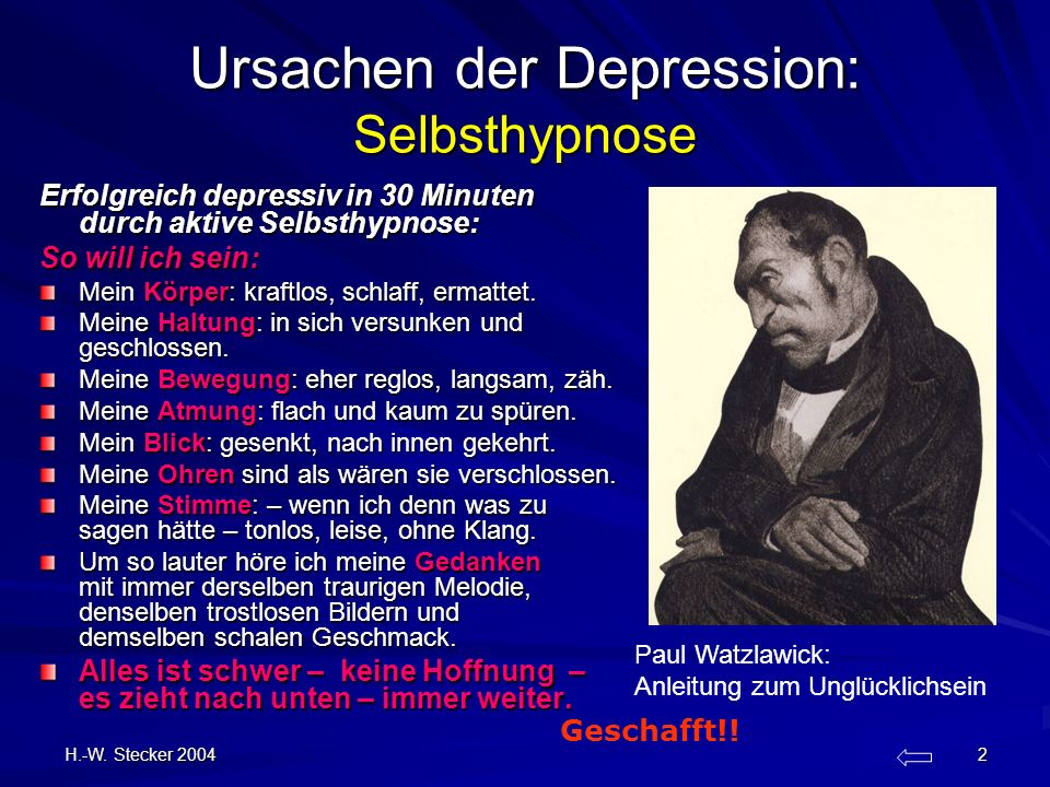 Ursachen der Depression: Selbsthypnose