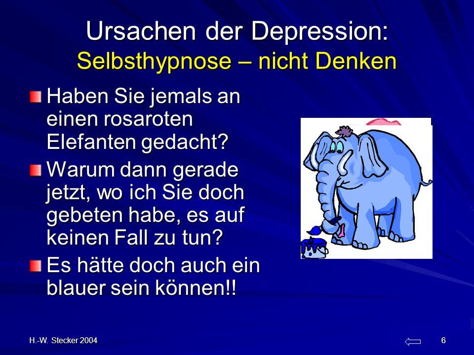 Ursachen der Depression: Selbsthypnose – nicht Denken