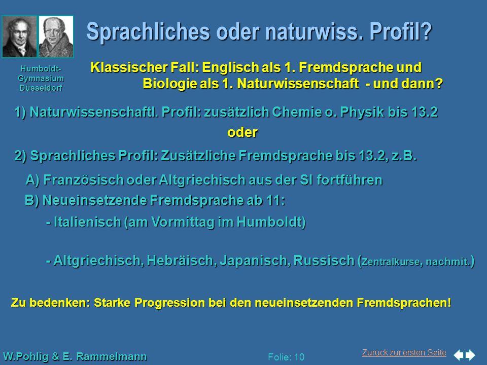 Sprachliches oder naturwiss. Profil