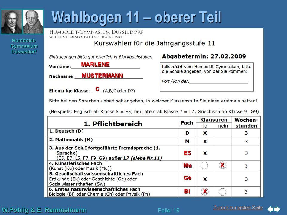 Wahlbogen 11 – oberer Teil