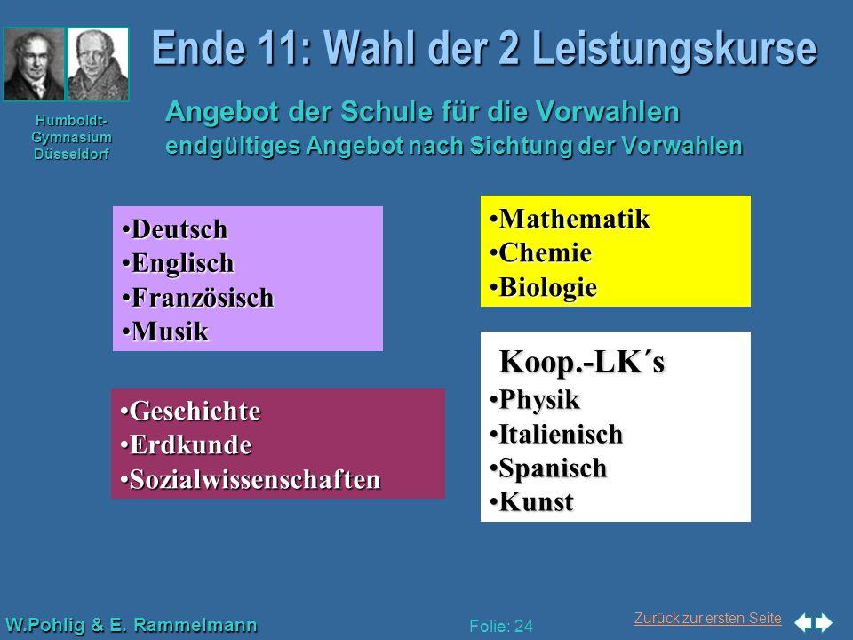 Ende 11: Wahl der 2 Leistungskurse