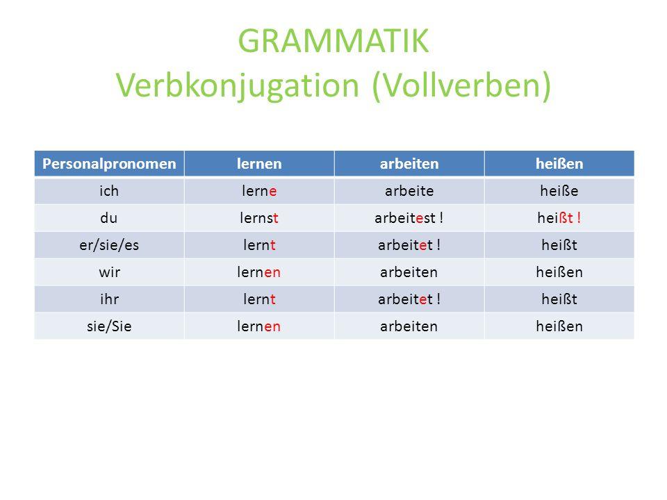 GRAMMATIK Verbkonjugation (Vollverben)
