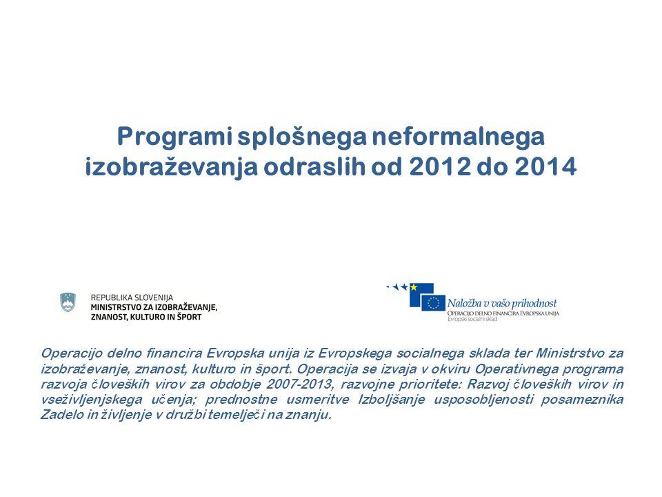Programi splošnega neformalnega izobraževanja odraslih od 2012 do 2014