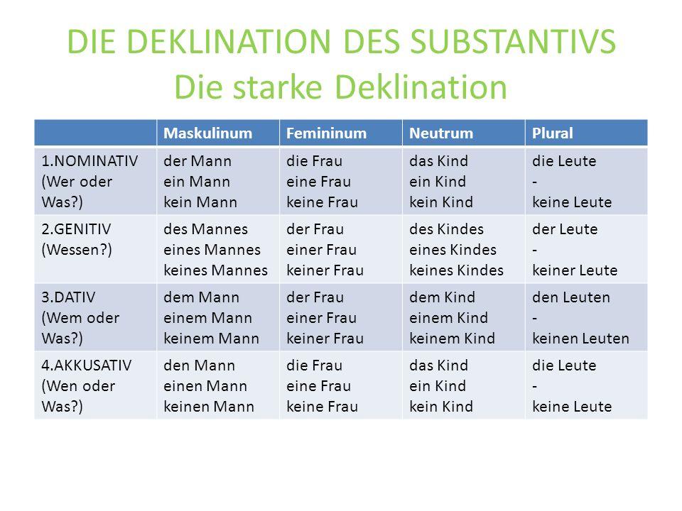 DIE DEKLINATION DES SUBSTANTIVS Die starke Deklination