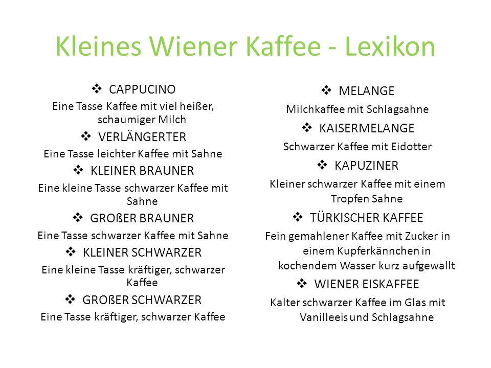 Kleines Wiener Kaffee - Lexikon