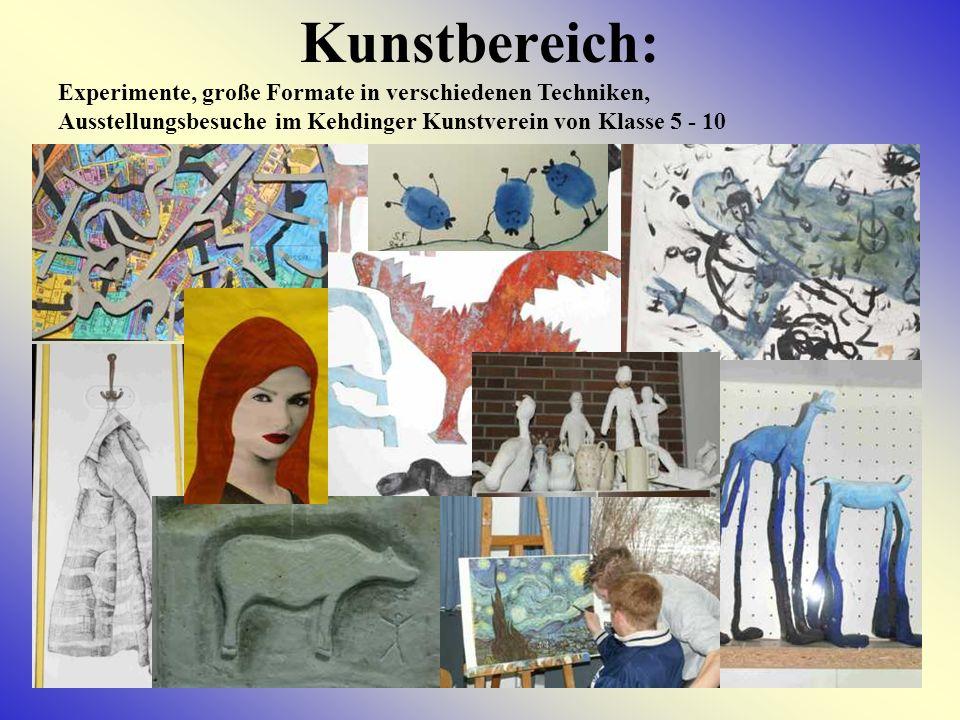 Kunstbereich: Experimente, große Formate in verschiedenen Techniken, Ausstellungsbesuche im Kehdinger Kunstverein von Klasse 5 - 10.
