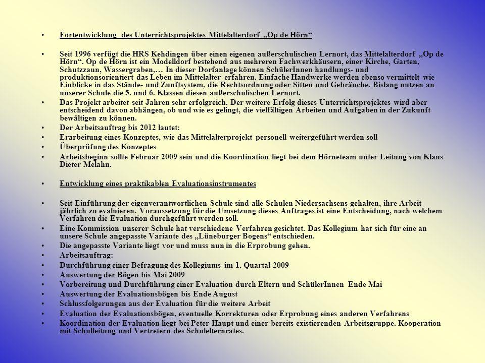"""Fortentwicklung des Unterrichtsprojektes Mittelalterdorf """"Op de Hörn"""