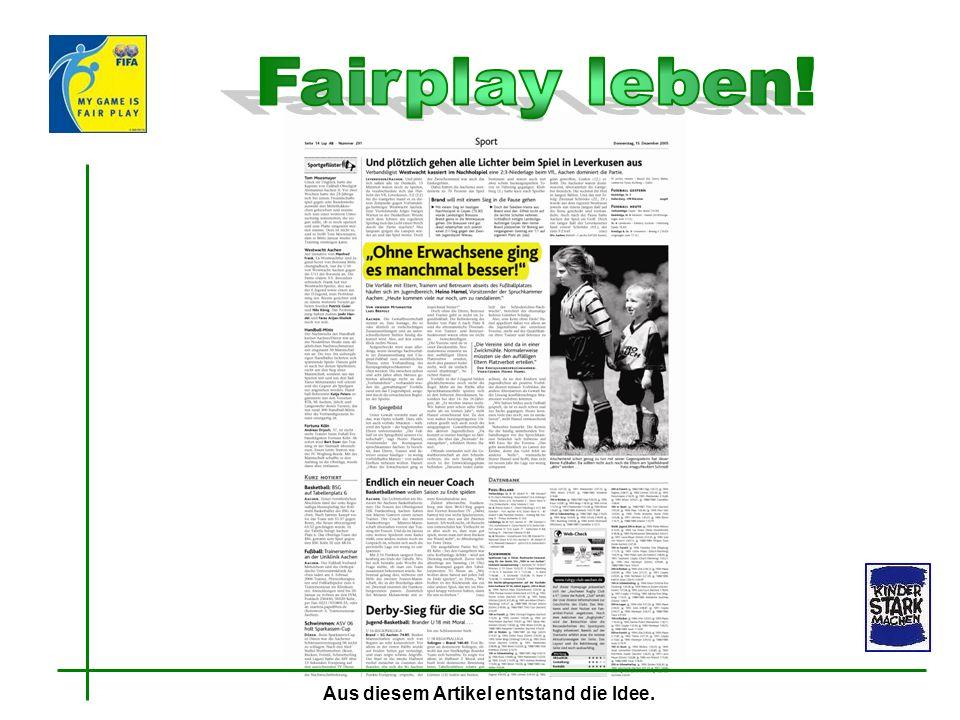 Fairplay leben! Aus diesem Artikel entstand die Idee.