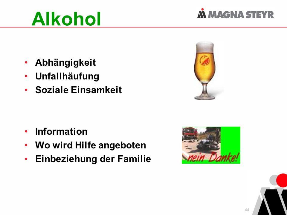 Alkohol Abhängigkeit Unfallhäufung Soziale Einsamkeit Information