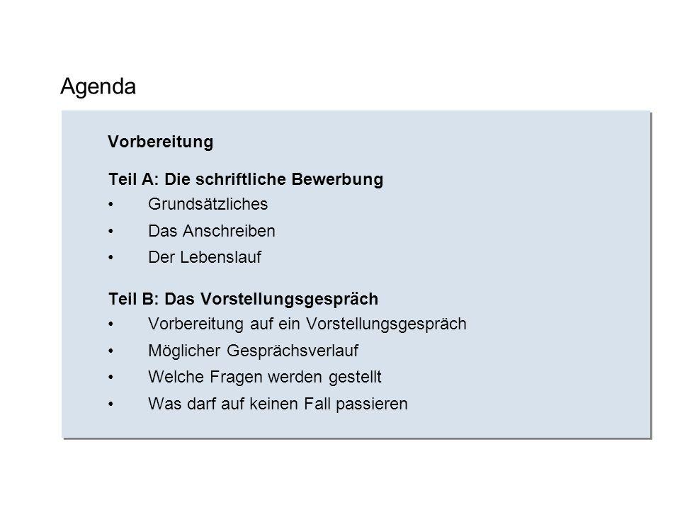 Agenda Vorbereitung Teil A: Die schriftliche Bewerbung Grundsätzliches