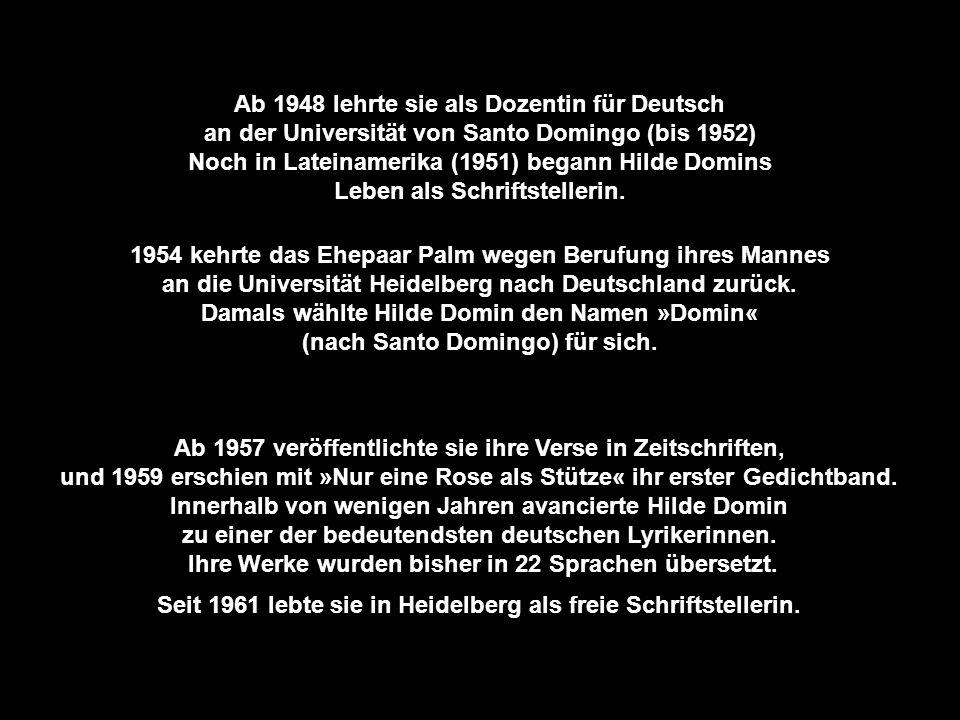 Ab 1948 lehrte sie als Dozentin für Deutsch