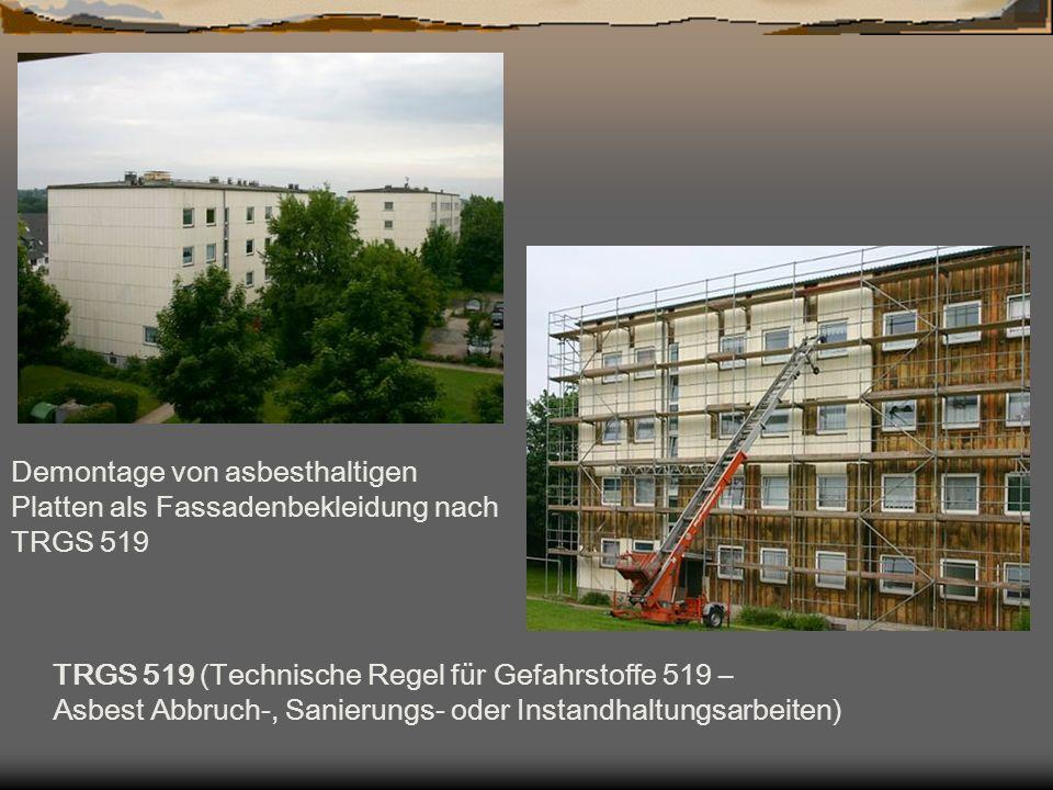Demontage von asbesthaltigen Platten als Fassadenbekleidung nach TRGS 519