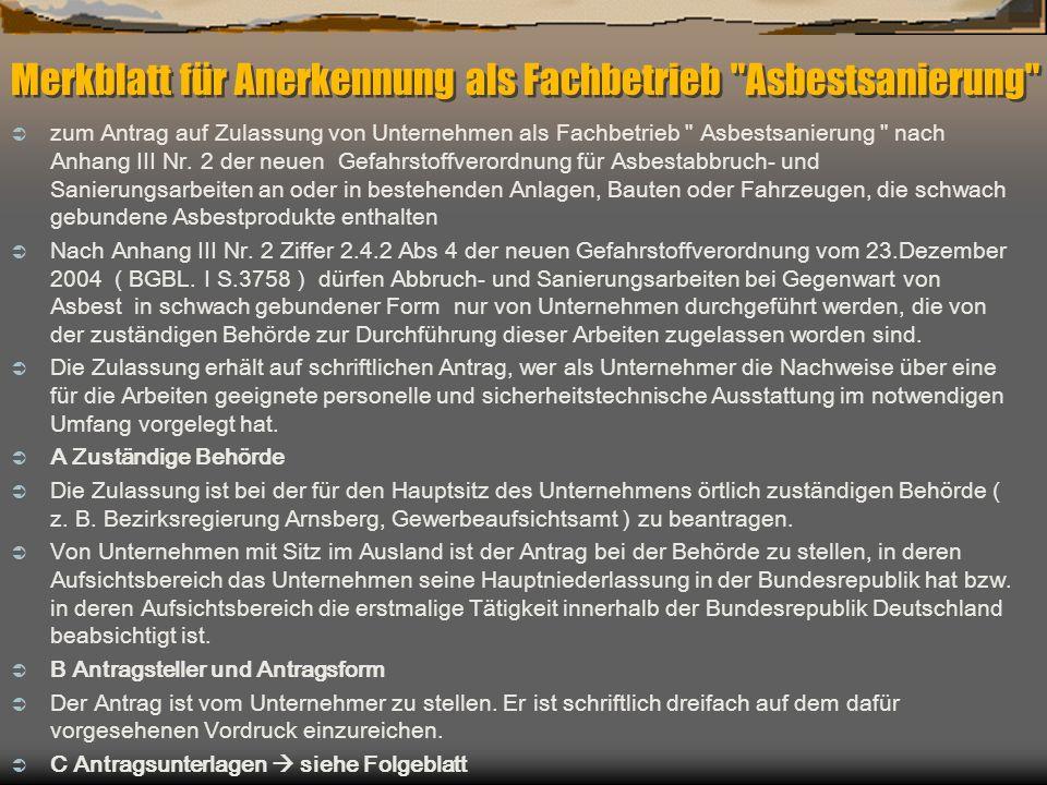 Merkblatt für Anerkennung als Fachbetrieb Asbestsanierung