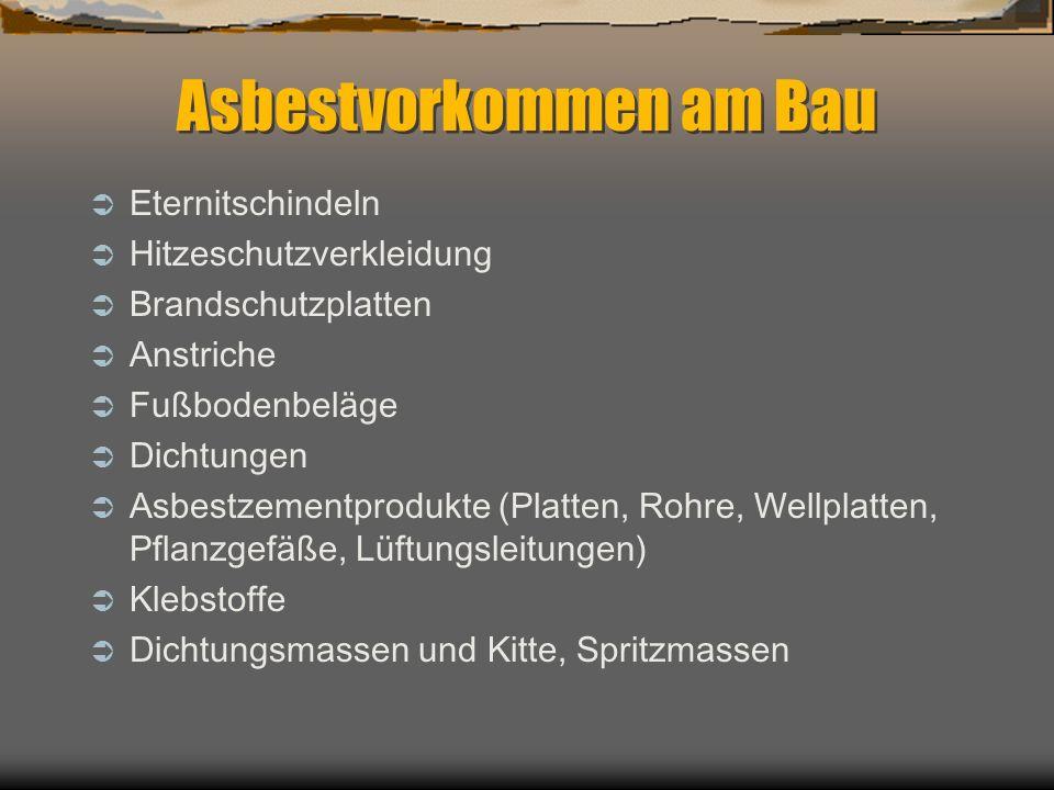 Asbestvorkommen am Bau