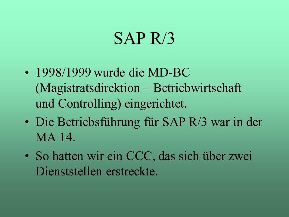 SAP R/3 1998/1999 wurde die MD-BC (Magistratsdirektion – Betriebwirtschaft und Controlling) eingerichtet.