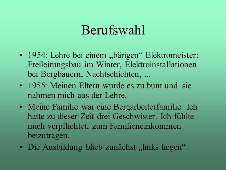 """Berufswahl 1954: Lehre bei einem """"bärigen Elektromeister: Freileitungsbau im Winter, Elektroinstallationen bei Bergbauern, Nachtschichten, ..."""