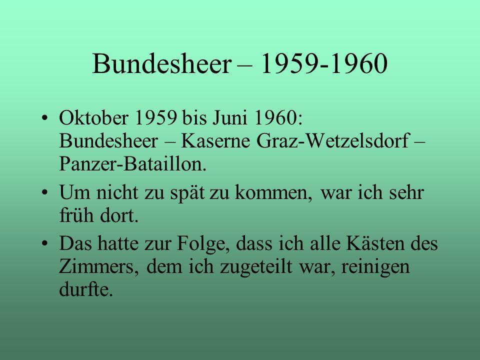 Bundesheer – 1959-1960 Oktober 1959 bis Juni 1960: Bundesheer – Kaserne Graz-Wetzelsdorf – Panzer-Bataillon.