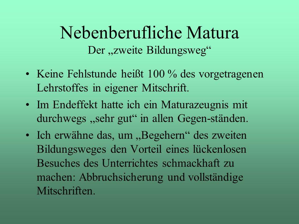 """Nebenberufliche Matura Der """"zweite Bildungsweg"""