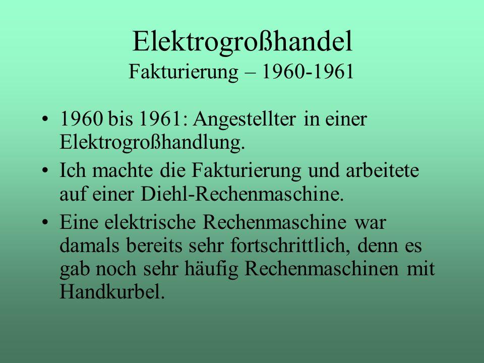 Elektrogroßhandel Fakturierung – 1960-1961