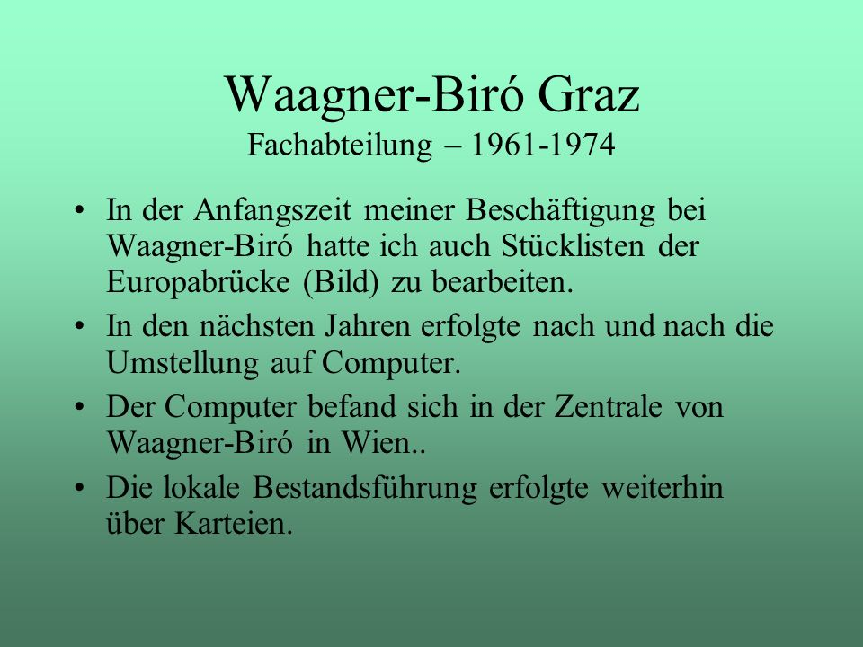 Waagner-Biró Graz Fachabteilung – 1961-1974