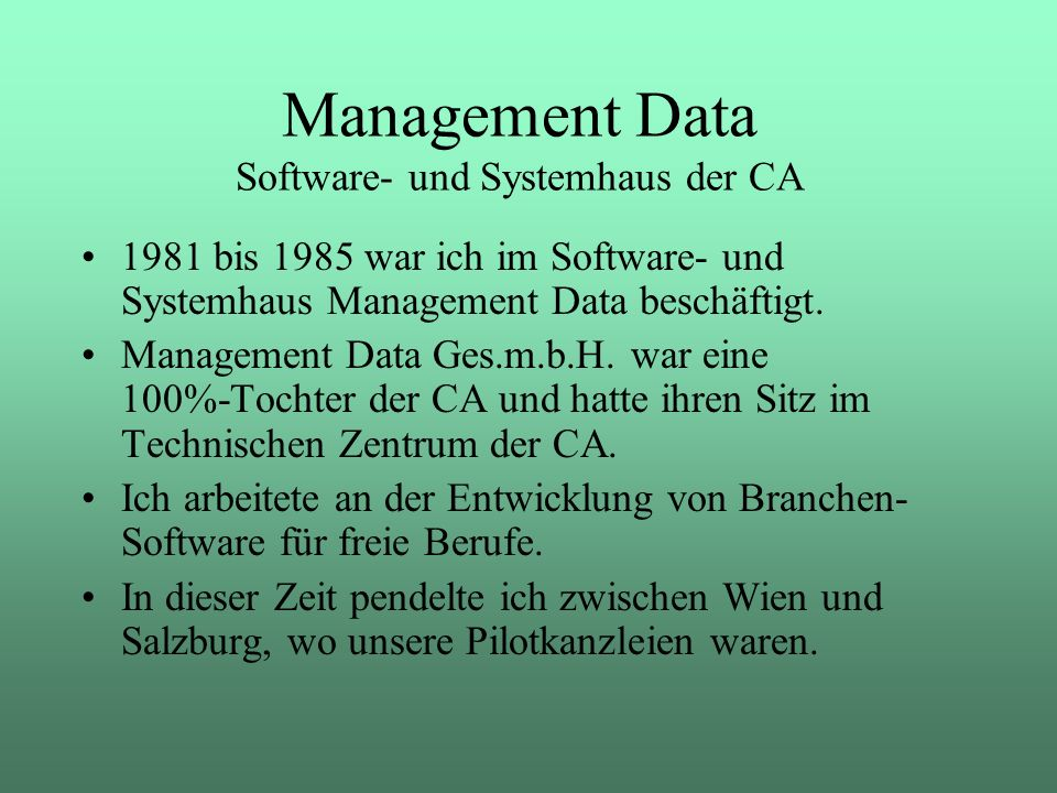 Management Data Software- und Systemhaus der CA