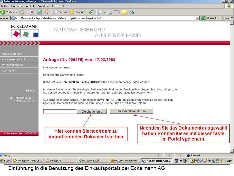 Hier können Sie nach dem zu importierenden Dokument suchen