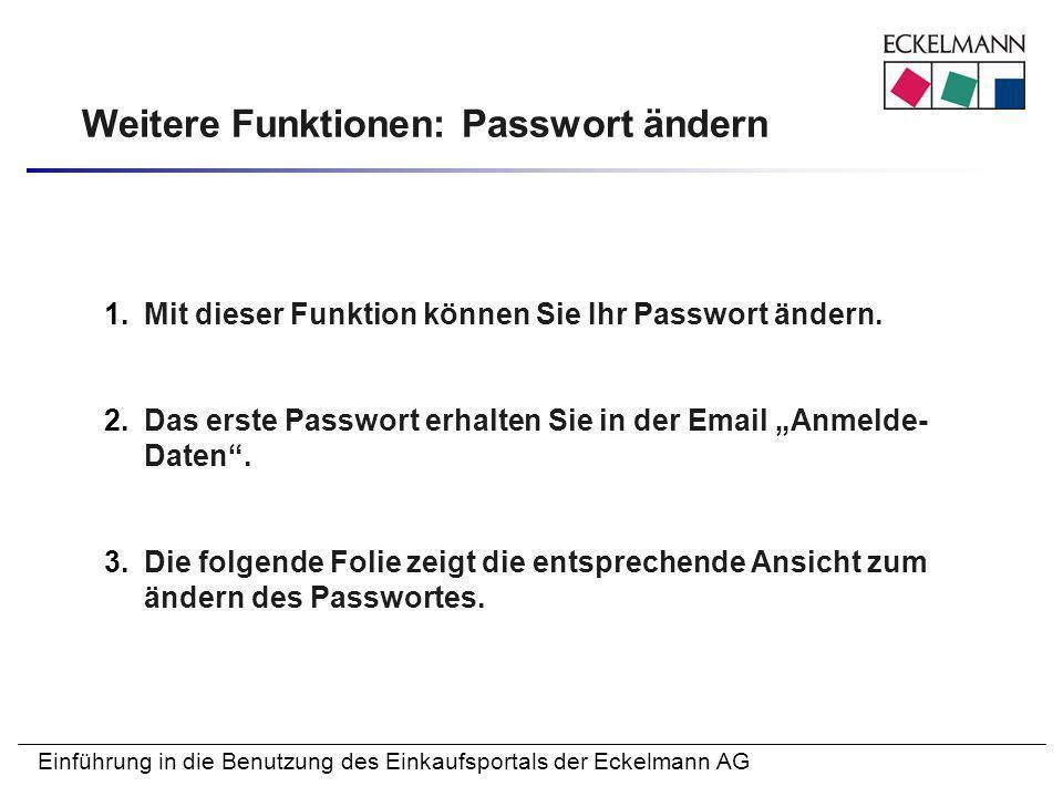 Weitere Funktionen: Passwort ändern