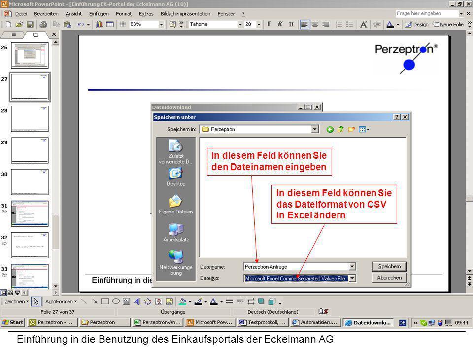 Einführung in die Benutzung des Einkaufsportals der Eckelmann AG