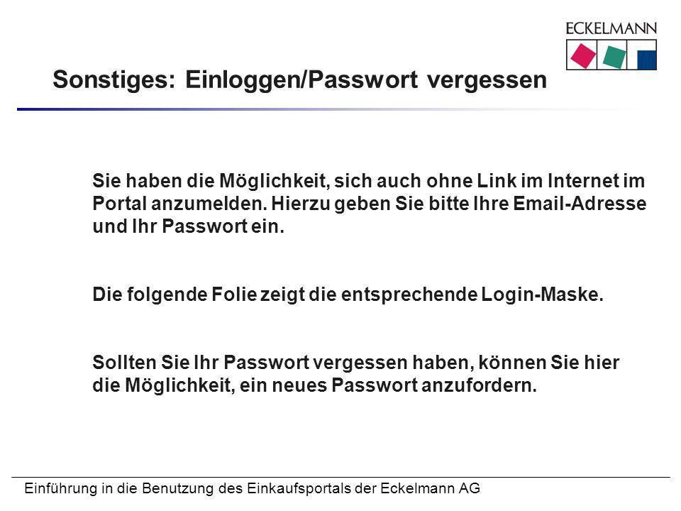 Sonstiges: Einloggen/Passwort vergessen